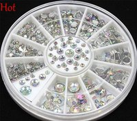 Wholesale Crystal Sticker Decals - Wholesale 4 Sizes 300 Pcs Nail Art Tips Crystal Glitter Rhinest 3D Nail Art Decoration Beads Nail Decal Stickers Rhinestones Wheel Hot 19818