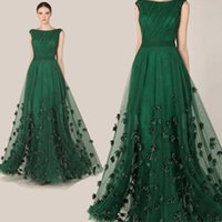 Wholesale Sexy Purple Split Front Dress - Fashionable Elegant 2016 Zuhair Murad Dress Emerald Green Tulle Cap Sleeve Evening Dress Party Prom Dresses Gowns AL2051