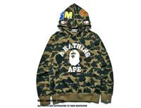 camisola com zip sweatshirt venda por atacado-Novo Outono Impressão Camisolas Para Homens Preto macaco Tubarão Moletom Com Capuz Casaco Completo Zip Moletom Com Capuz de Lã Cardigan Camisola Tops