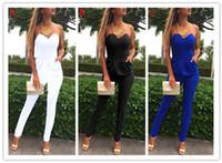 Wholesale Women S Tube Top Bras - Women Jumpsuits Solid V-neck Bra Leakage Shoulder Folds Pocket Sexy Fashion Jumpsuit Shoulder Sliming Tube Top Romper