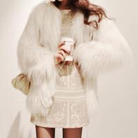 Wholesale Winter White Plush Coat - Wholesale-Plus Size XXXL 4XL 5XL Warm Winter Women's Plush Fur Coat Medium-long Multicolor Candy Color White Faux Fox Fur Coats and