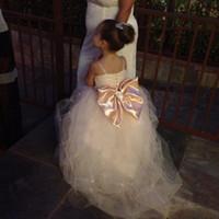Wholesale Multi Color Beaded Pageant Dresses - 2015 Lovely Bridal Flower Girl Dresses Spaghetti Straps Tulle Beaded Waistband Sweep Train Sparkling Little Girls Pageant Dresses Wedding