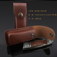 Wholesale Cow Tools - Folding Knives Cow Leather Case Camping Tools Genuine Cowhide Cover Molle Pouches Bag Brown Color