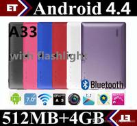 tablet fener kamera toptan satış-7 inç A33 Quad Core Tablet Allwinner Android 4.4 KitKat Kapasitif 1.5 GHz 512 MB RAM 4 GB ROM WIFI Çift Kamera Feneri TA2