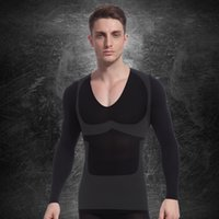 Wholesale Long Sleeve Body Slimming - Mens Tummy Belly Buster Long Sleeve Posture Correction Shirt Control Fat Burn Slimming Body Shaper Spandex Underwear d104