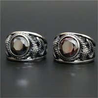 Wholesale Stone Rings Designs Men - 1pc New Arrival Flying Dragon Huge Stone Ruby Ring 316L Stainless Steel Man Boy Fashion Personal Design Cool Ring