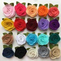 Wholesale Good Quality Hair Accessories - 50pcs good quality felt rose flower garment accessories rosettie felt flower hair accessories