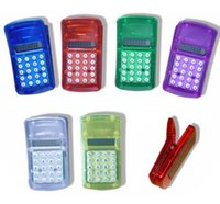 Wholesale Display Calculators - DHL Freeshipping FLCD Screen Display Mini Portable Pocket Clip Calculator for Student
