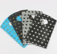 siyah hediye çantası toptan satış-200 adet / grup 9X15 cm 4 Renkler Ile Siyah Gri Gökyüzü Mavi Yıldız Desen Plastik Torba Hediye Çanta takı Torbalar