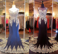 Wholesale Discount Beaded Lace - 2015 Best Selling Big Discount Evening Dresses Sheer Crew Neck Appliques Beaded Hollow Sweep Train Mermaid Sweep Train Prom Party Gowns