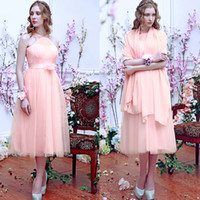Wholesale Hand Made Shawl - 2015 Tea length bridesmaid dresses custom made Net Tulle Hand Made Flower Romantic High Quality Exquisite Shawl evening dresses 2015 5403