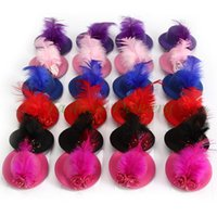 Wholesale Wholesale Mini Hats Feathers - 24Pcs Lot Rose Top Cap Lace Feather Hair Hat Clip Fashion Women Mini Hair Cap Clip Stylish Fascinator Costume Accessory Free Shipping