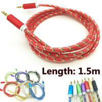 Wholesale Headphones Speak - 1.5m Aluminum Alloy Audio Cable Braided Stereo Male 3.5mm Car Aux Extended Luxury Durable Cord for iphone Samsung Headphone Speak Tablet MP3