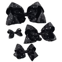 "Wholesale Hairbow Set - 1 Set (4pcs )3 ""4 ""6 ""7 ""Girl Rhinestone Grosgrain Ribbon Hairbow Hair Accessories With Alligator Clip Handmade Diamond Kids Hair Bow"