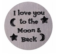 Wholesale Stamped Letters Numbers - 20PCS lot Stainless Steel Floating Window Plates Stamped I Love You To The Moon & Back Fit For 30mm Glass Magnetic Locket