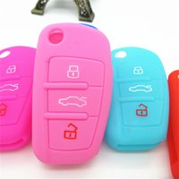 Wholesale Keyless Remote For Cars Shell - Silicone rubber car key fob cover case skin shell set bag for Audi remote keyless protected