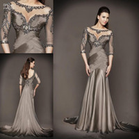 Wholesale Grey Chiffon Mermaid Dress - 2015 Mother of the Bride Dresses plus size dresses mother bride With Mermaid Beading Half Sleeve Chapel Train Grey Satin high quality gowns