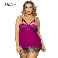 Wholesale Type Men Pajamas - MILLYN sexy pajamas nightdress strip Push Up bra Nightwear Halter lingerie hot erotic sleepwear 5XL R7964