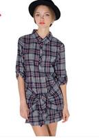 Wholesale Shirt Chiffon Retro Dot - Haoduoyi 2015 new winter retro British style hit color plaid shirt sleeve tie waist dress skirt false