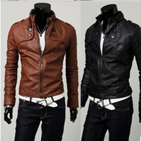 Wholesale Short Sleeve Leather Motorcycle Jacket - Free shipping NEW HOT Fashion Men's leather motorcycle coats jackets washed mens leather coat