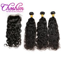 Wholesale Natural Rose Hair - Choshim Slove Rose brazilian virgin hair Loose Wave Silk Base Closure With 3or4 Bundles For Black Woman Baby Hair Grade human 10A