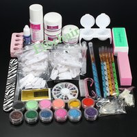 Wholesale Professional Acrylic - Professional Nail Art Kit Sets Manicure Set Nail Care System Acrylic Powder Liquid Glitter Glue Toes Separators Brush Tweezer Primer Tips