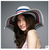 Wholesale Korean Straw Cowboy Hat - women caps summer beach hat lady Wide Brim Hats Korean style tourist beach sun hat large brimmed straw sun hat holiday wear DHL free 2016