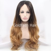 Wholesale Synthetic Two Tone Wigs - Brown Blond Two Tone Synthetic Hair Wig Long Wavy Ombre Lace Front Wig For White Women