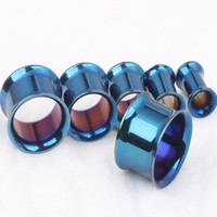 Wholesale Double Flare Ear Piercing Flesh - Ear plug tunnel F79 mix 5-16 mm 70pcs lot stainless body piercing jewelry blue double flared flesh Gauge