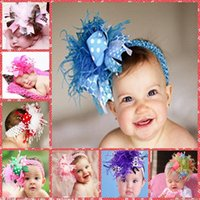 Wholesale Cheaper Feather Headbands - Wholesale 2015 Lovely Baby Feather Princess Headbands Kids Children Hair Accessories Babies Princess Crown Headbands Cheap Sale 12 Colors