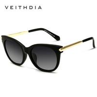 Wholesale Ladies Rimless Polarized Sunglasses - VEITHDIA TR90 Vintage Large Sun glasses Polarized Cat Eye Ladies Designer Women Sunglasses Eyewear and Accessories For Women 7016