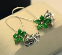 Wholesale Bell Flower Plant - Creative 48mm Long Earrings Fashion Christmas Bells Green Leaves Alloy Enamel Ms. Ring Earrings 30 pairs free shipping
