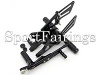 Wholesale Yamaha R1 Footpegs - Black Silver Adjustable CNC Billet Rearset Rear Set Footrest Footpegs Foot Peg For Yamaha YZF R1 09 10 11 12 13 2009 - 2013 Motorcycle New