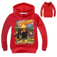 Wholesale Fireman T Shirts - T shirt Fireman Sam Long Sleeve Sweatshirt Hoodies Clothes T-shirts Boys Girls Cotton Coats