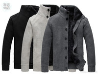 Wholesale Korean Sweater Slim Fit Black - Free shipping New!Korean Mens Slim Fit Cardigan Sweaters Thick Button Knitted Cardigan Slim Wool Casual Men Cardigan Sweater 3 color