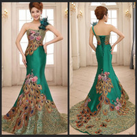Wholesale Formal Evening Gowns Peacock - Gorgeous One Shoulder Green Mermaid Evening Dresses Peacock Pattern Backless Prom Gowns For Woman's Formal Occasion Dresses With Feathers