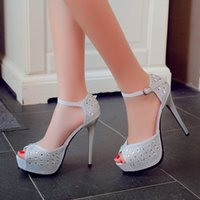 Wholesale Satin Black Peep Toe Platforms - Super high heels costly diamond fine fish mouth sandals with waterproof platform sandals heels summer new club for women's shoes
