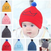 Wholesale Crown Derby - Printed Crown Knitted Beanies Hats For Newborn Baby Infant Autumn Winter Warm Cute Pompom Ball Crochet Hat