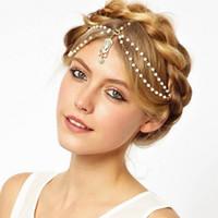 Wholesale Rhinestone Forehead Band - Bohemian Women's Bead Rhinestone Drop Tassel Forehead Head Chain Jewelry Dance Headpiece Hair Band Hair Chains Lots 12Pcs