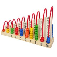 Wholesale Calculator Abacus - Wholesale-Baby toy Wood Abacus Bead Counting Frame 1 + 1 Calculation Arithmetical Rack Frame Rack Abaci Calculator