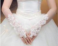 Wholesale Lace Mesh Bridal - Mesh+Lace Bridal Fingerless Gloves White Color Mix Color 20prs Lot Free Shipping 0613B3