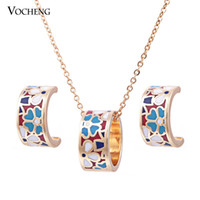 Wholesale Stylish Necklaces - Stylish 9 Colors 18K Gold Plated Multicolor Copper Metal Colorful Byzantinism Cloisonne Jewelry Set (Vs-271-1) Vocheng Jewelry