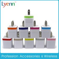 Wholesale I 5s - Wall Chargers US Plug 5V 2A Dual USB Power Adapter 2 Port Charger Adapter for i Phone 6 5s pad air for Samsung