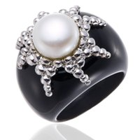 Wholesale Solid Agate Band Ring - Wholesale-Natural Freshwater Pearl Solid 925 Sterling Silver Ring with Black Agate Band Fine Jewelry Lady Women Gift