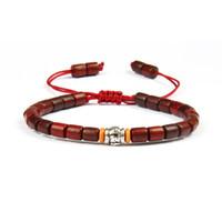 holz mala armband großhandel-Mode Holz Schmuck Großhandel 10 teile / los Tibetischen Buddhistischen Handmade Mantra Zeichen Charme Natürliche Sanders Holz Mala Perlen Macrame Armband