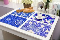 Wholesale White Porcelain Bowls - Blue and white porcelain Placemat Insulation Non-Slip Dining Table Mat Bowl Tableware Pad Coaster Kitchen Accessories