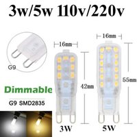 Wholesale g9 led dimmable 5w - 20X G9 3 5W Led 2835 SMD Dimmable Capsule Bulb Replace Halogen Light Bulb Lamps 110V 220V