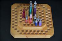 Wholesale wooden ecig - Wooden e cig display frame showcase wood exhibit shelves stand show cigarette holder rack for clearomizer atomzier ego evod battery ecig