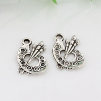 Wholesale Artist Palette Charm - Hot ! 150pcs Ancient silver Alloy Zinc alloy Paint Palette Artist Painter Charms Pendants Jewelry DIY 14 x 17mm