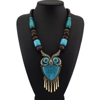 Wholesale Wood Owl Necklace - Fashion Tibetan Style Wood Chains Resins Big Owl Necklaces & Pendants Statement Jewelry Women Perfect Match For Dress N1272